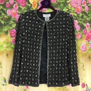 Papell Boutique Evening Black Silk Beaded Blazer S